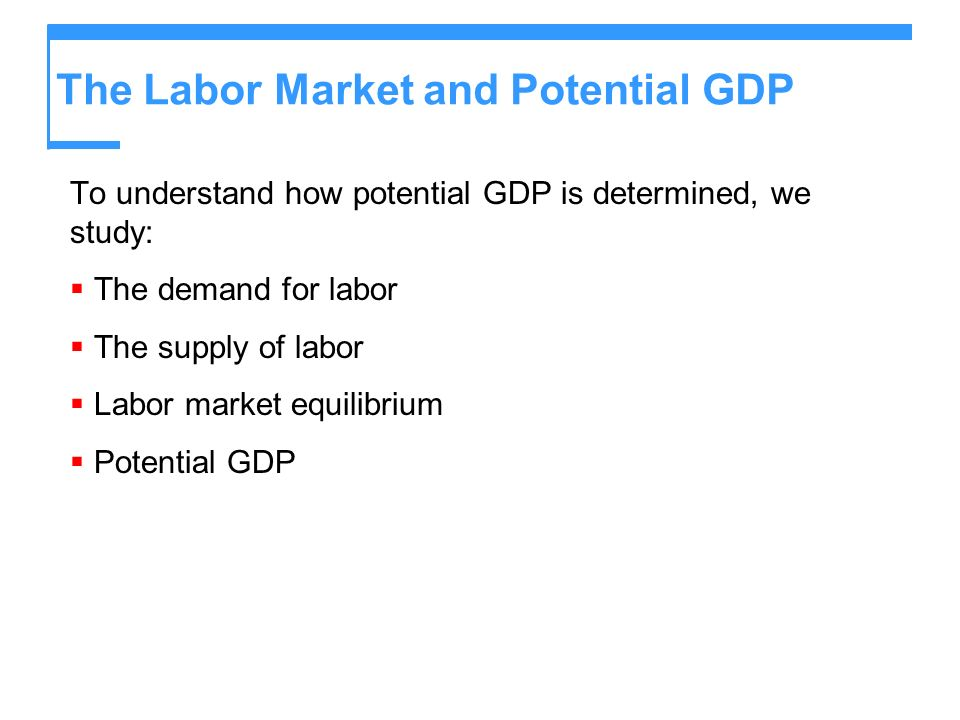 The Labor Market and Potential GDP To understand how potential GDP is determined, we study: The demand for labor The supply of labor Labor market equi