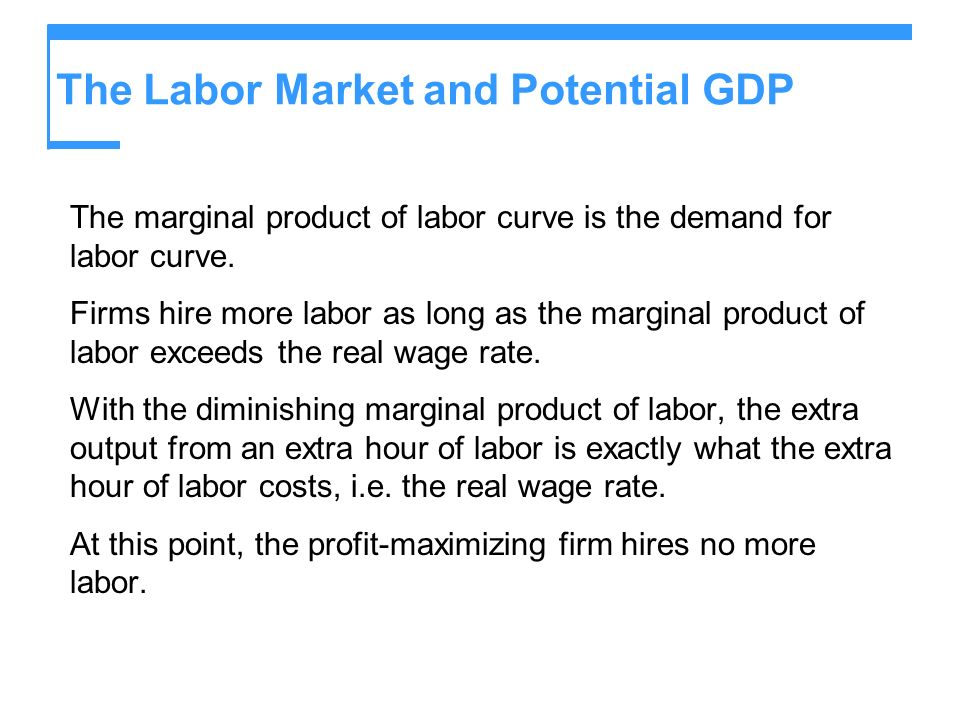 The Labor Market and Potential GDP The marginal product of labor curve is the demand for labor curve. Firms hire more labor as long as the marginal pr