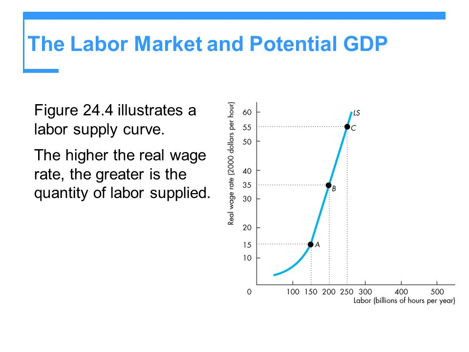 The Labor Market and Potential GDP Figure 24.4 illustrates a labor supply curve. The higher the real wage rate, the greater is the quantity of labor s