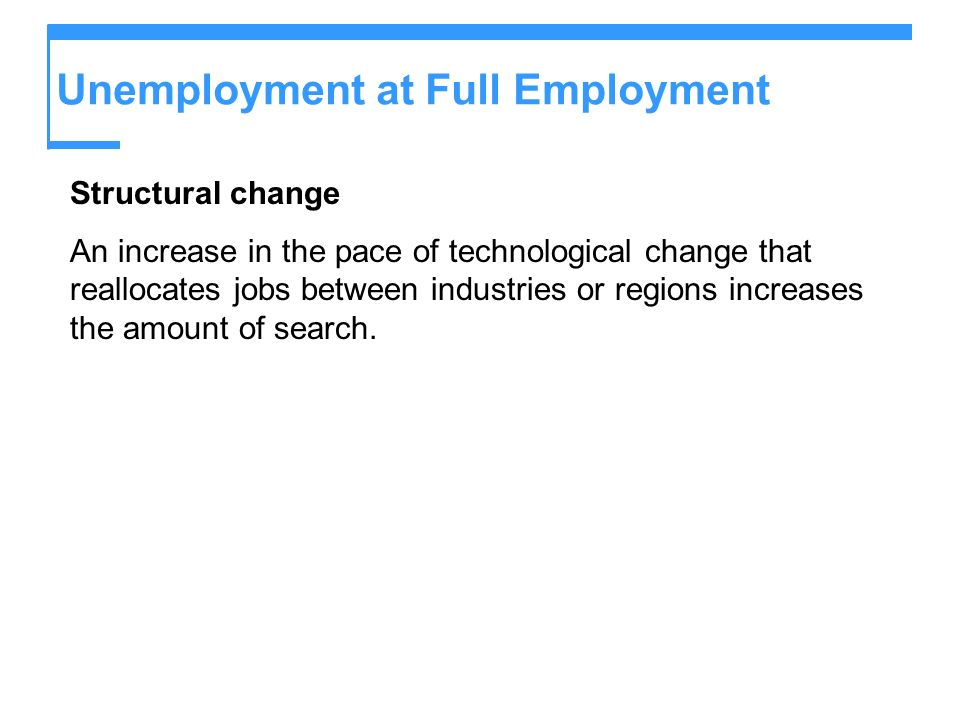 Unemployment at Full Employment Structural change An increase in the pace of technological change that reallocates jobs between industries or regions