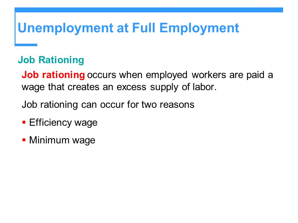 Unemployment at Full Employment Job Rationing Job rationing occurs when employed workers are paid a wage that creates an excess supply of labor. Job r