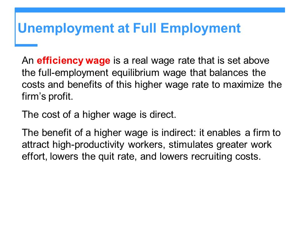 Unemployment at Full Employment An efficiency wage is a real wage rate that is set above the full-employment equilibrium wage that balances the costs