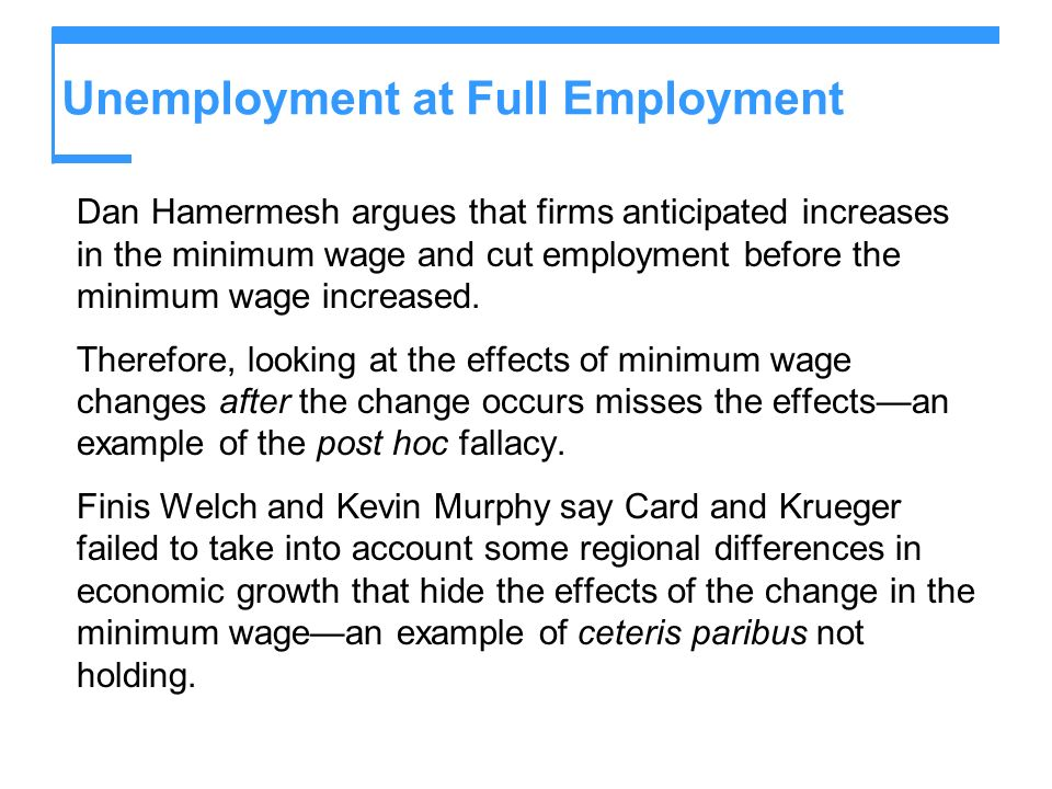 Unemployment at Full Employment Dan Hamermesh argues that firms anticipated increases in the minimum wage and cut employment before the minimum wage i