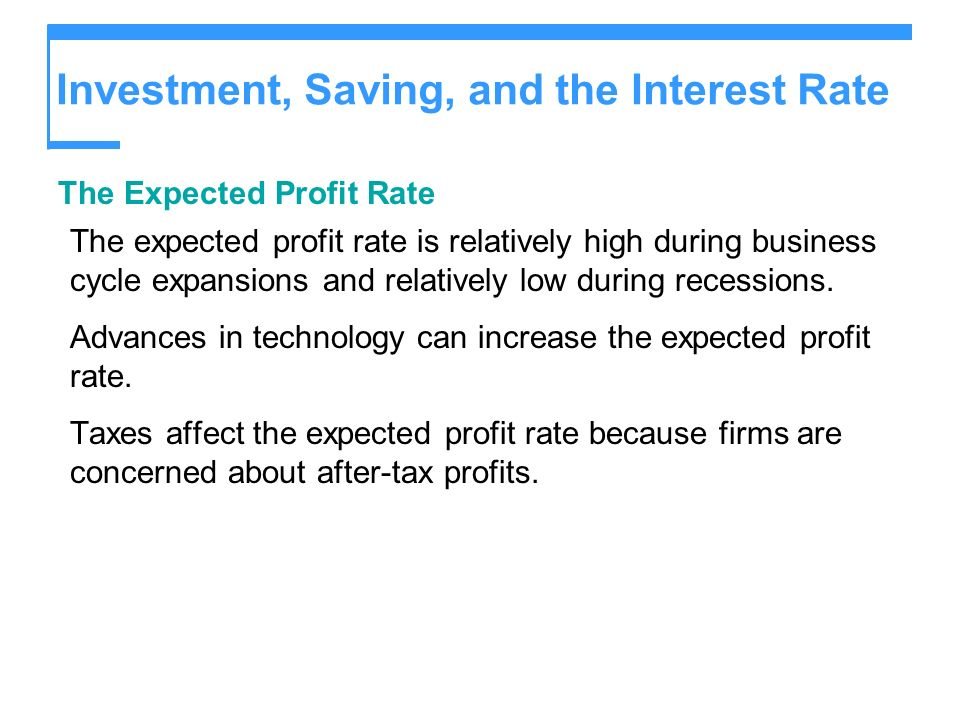 Investment, Saving, and the Interest Rate The Expected Profit Rate The expected profit rate is relatively high during business cycle expansions and re
