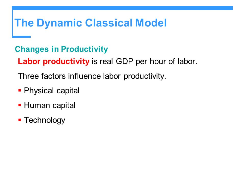 The Dynamic Classical Model Changes in Productivity Labor productivity is real GDP per hour of labor. Three factors influence labor productivity. Phys