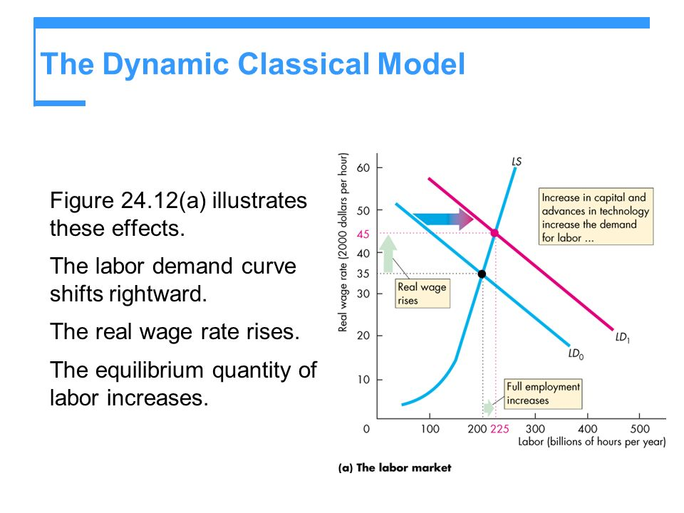 The Dynamic Classical Model Figure 24.12(a) illustrates these effects. The labor demand curve shifts rightward. The real wage rate rises. The equilibr