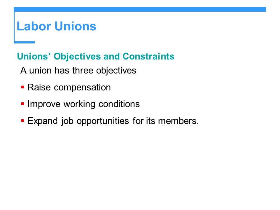 Labor Unions Unions Objectives and Constraints A union has three objectives Raise compensation Improve working conditions Expand job opportunities for