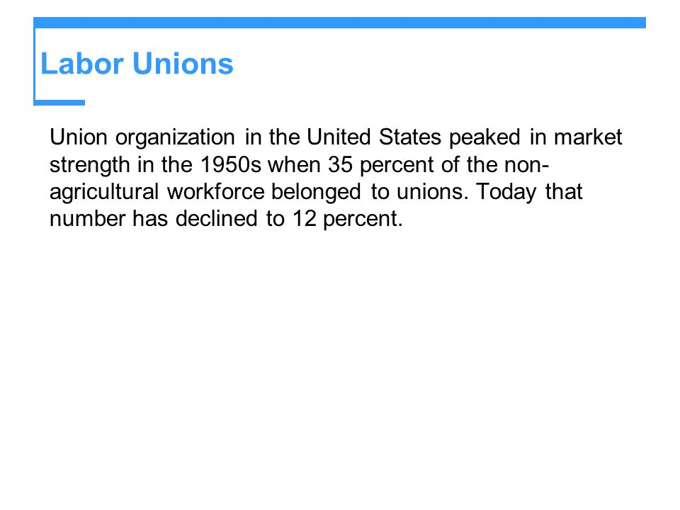 Labor Unions There are three forms of union organization.
