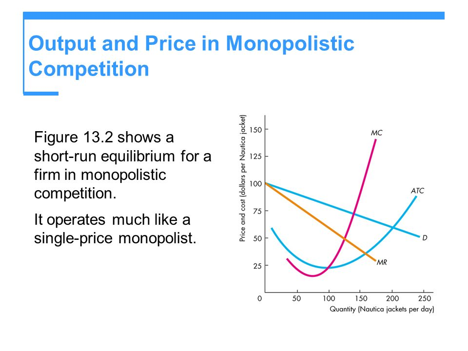 Output and Price in Monopolistic Competition Figure 13.2 shows a short-run equilibrium for a firm in monopolistic competition.