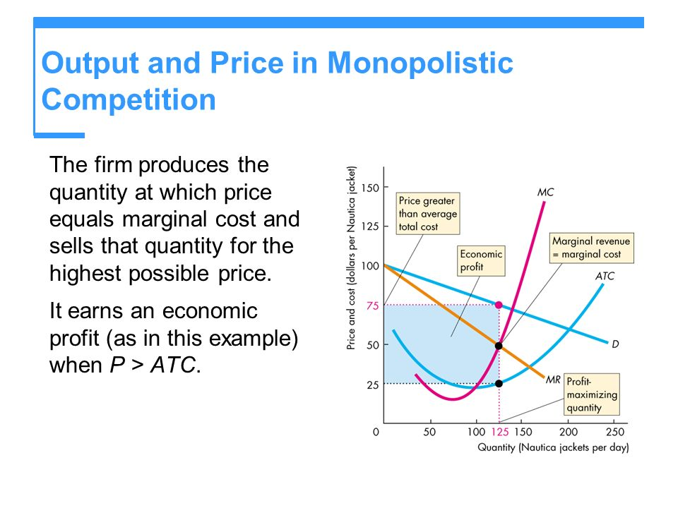Output and Price in Monopolistic Competition The firm produces the quantity at which price equals marginal cost and sells that quantity for the highes