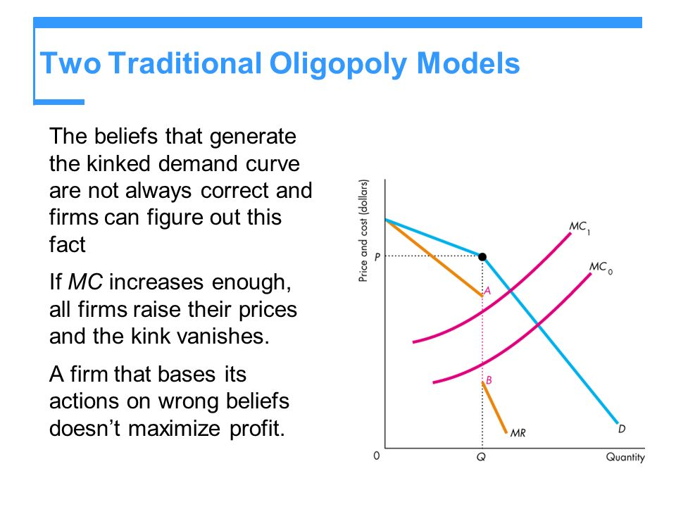 Two Traditional Oligopoly Models The beliefs that generate the kinked demand curve are not always correct and firms can figure out this fact If MC inc