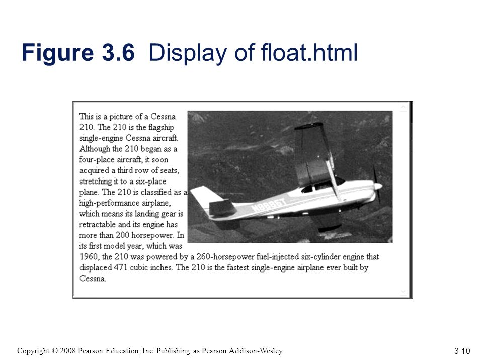 3-10 Copyright © 2008 Pearson Education, Inc. Publishing as Pearson Addison-Wesley Figure 3.6 Display of float.html