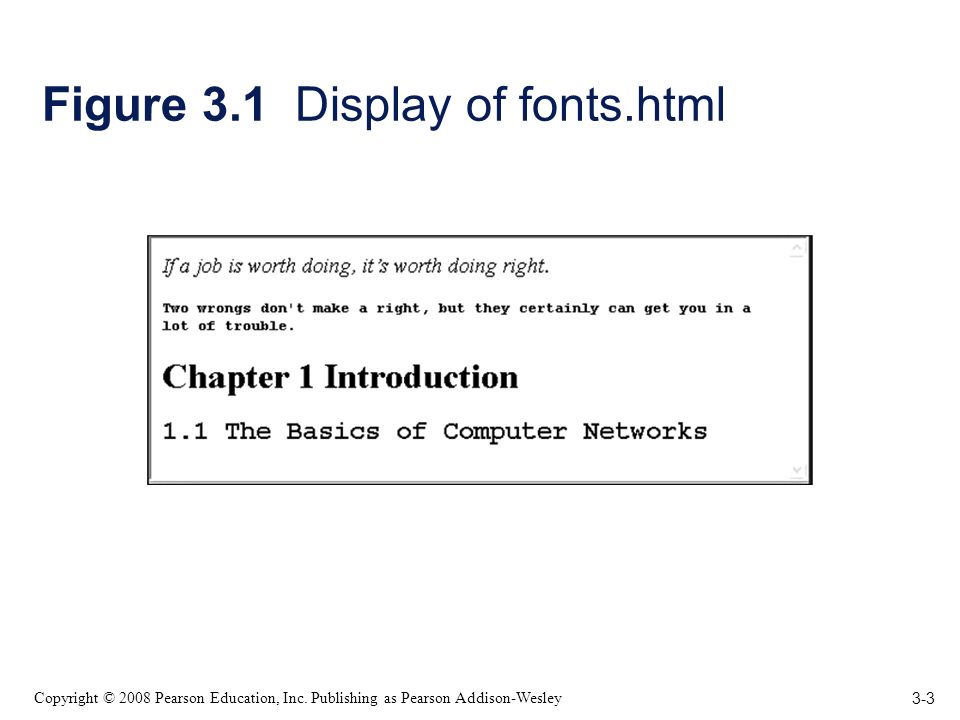 3-3 Copyright © 2008 Pearson Education, Inc. Publishing as Pearson Addison-Wesley Figure 3.1 Display of fonts.html