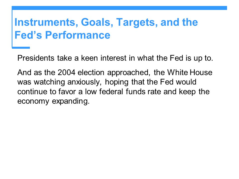 Instruments, Goals, Targets, and the Feds Performance Presidents take a keen interest in what the Fed is up to.
