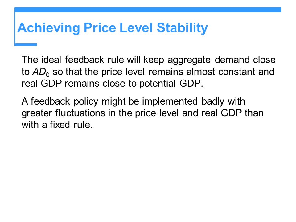 Achieving Price Level Stability The ideal feedback rule will keep aggregate demand close to AD 0 so that the price level remains almost constant and real GDP remains close to potential GDP.