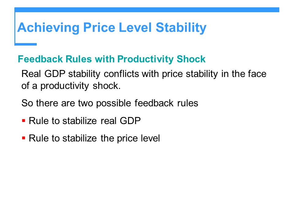 Achieving Price Level Stability Feedback Rules with Productivity Shock Real GDP stability conflicts with price stability in the face of a productivity shock.