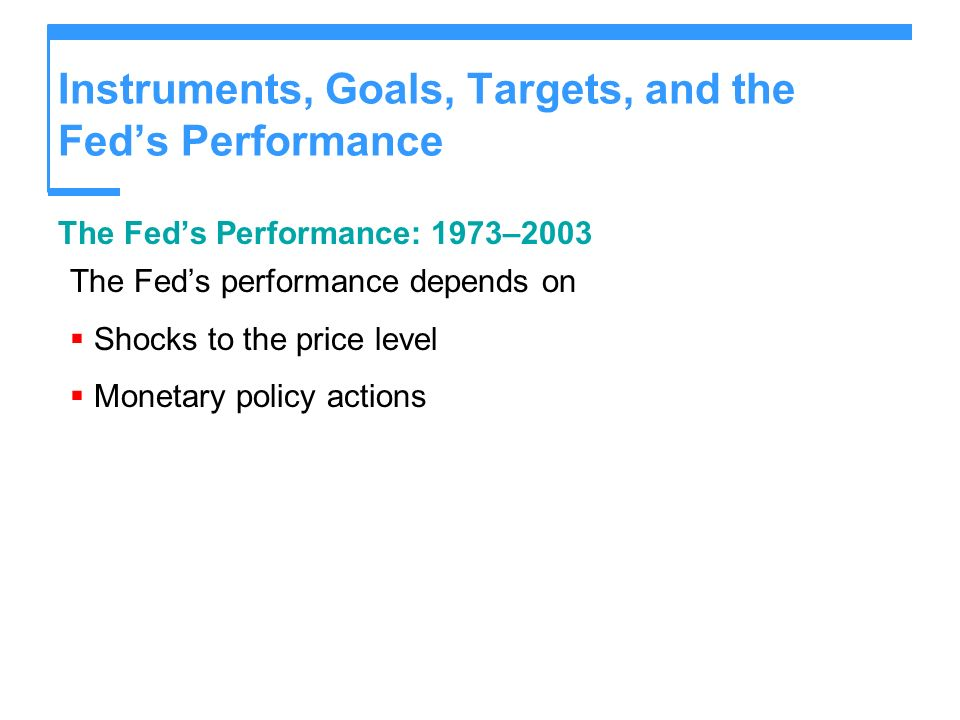 Instruments, Goals, Targets, and the Feds Performance The Feds Performance: 1973–2003 The Feds performance depends on Shocks to the price level Monetary policy actions