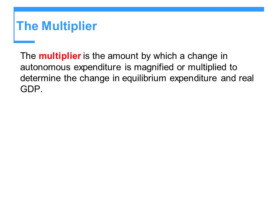 The Multiplier The multiplier is the amount by which a change in autonomous expenditure is magnified or multiplied to determine the change in equilibr