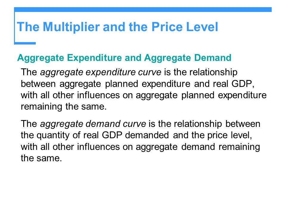 The Multiplier and the Price Level Aggregate Expenditure and Aggregate Demand The aggregate expenditure curve is the relationship between aggregate pl