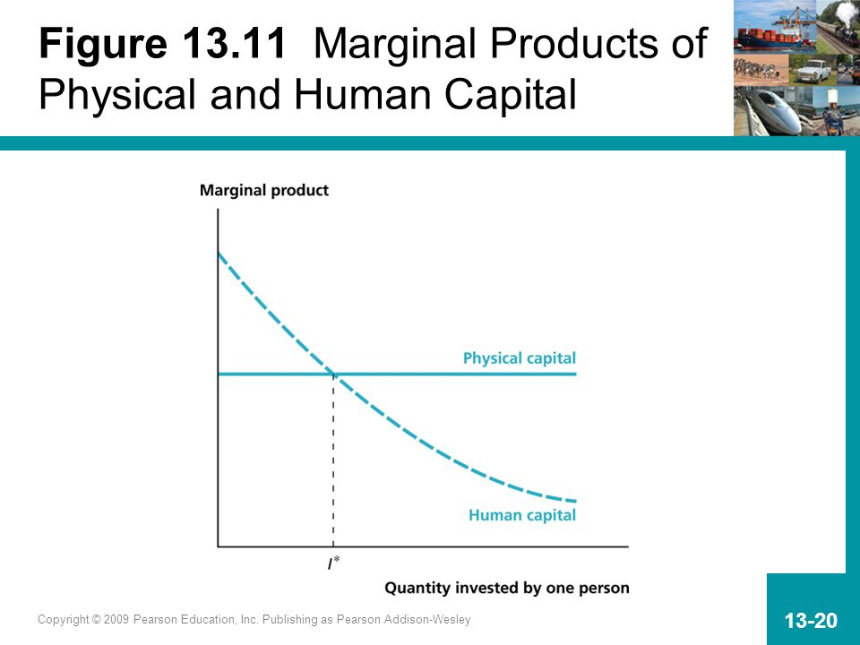 Copyright © 2009 Pearson Education, Inc. Publishing as Pearson Addison-Wesley 13-20 Figure 13.11 Marginal Products of Physical and Human Capital