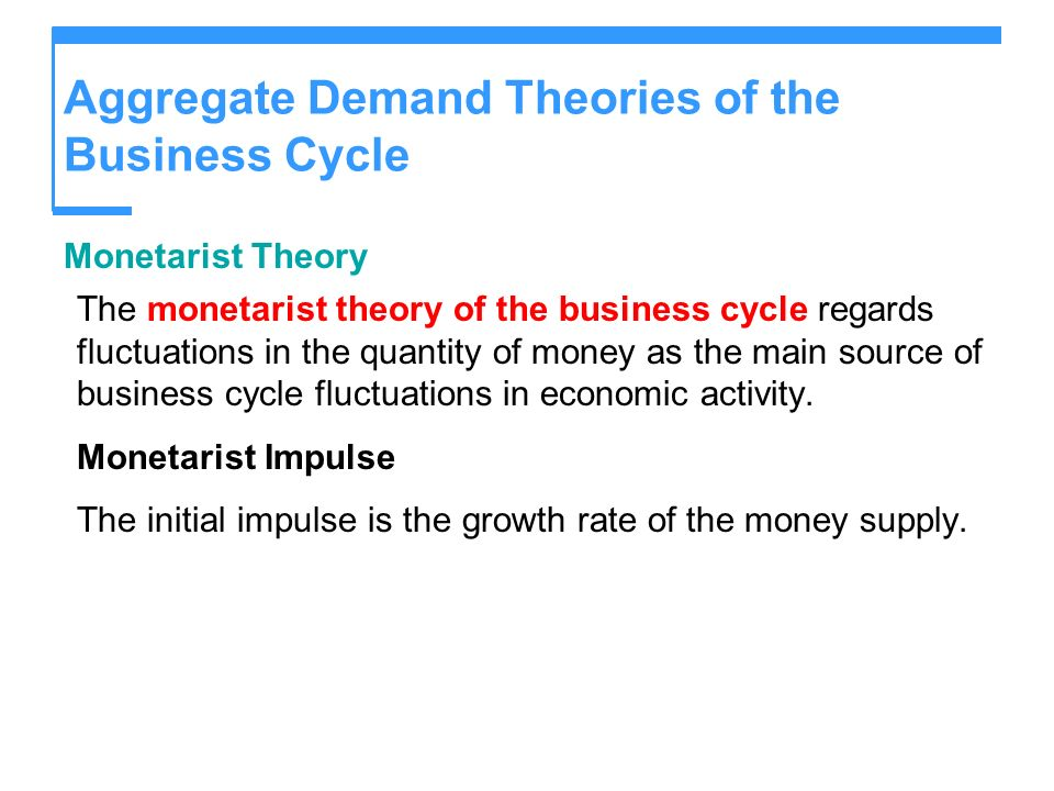Aggregate Demand Theories of the Business Cycle Monetarist Theory The monetarist theory of the business cycle regards fluctuations in the quantity of