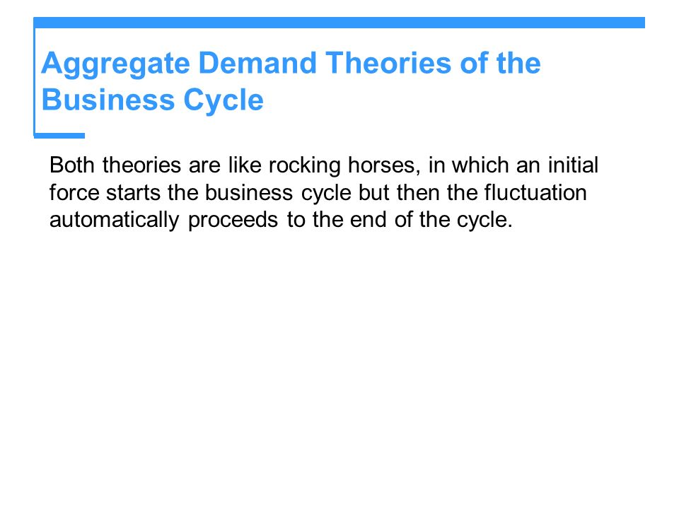 Aggregate Demand Theories of the Business Cycle Both theories are like rocking horses, in which an initial force starts the business cycle but then th