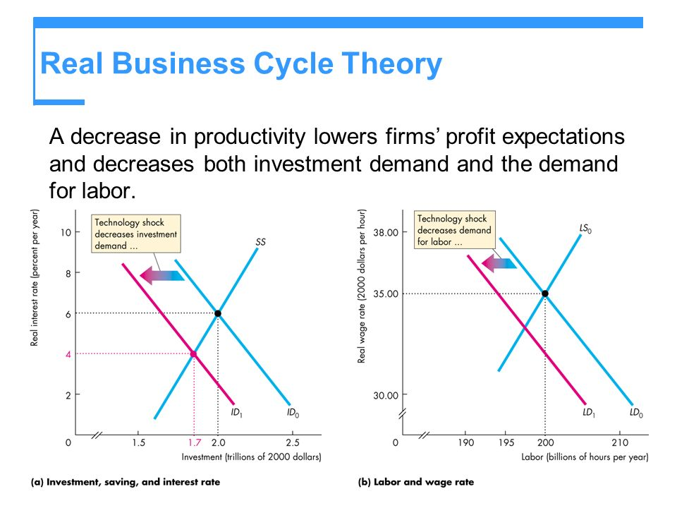 Real Business Cycle Theory A decrease in productivity lowers firms profit expectations and decreases both investment demand and the demand for labor.