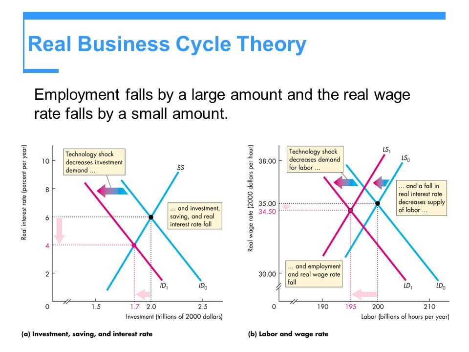 Real Business Cycle Theory Employment falls by a large amount and the real wage rate falls by a small amount.
