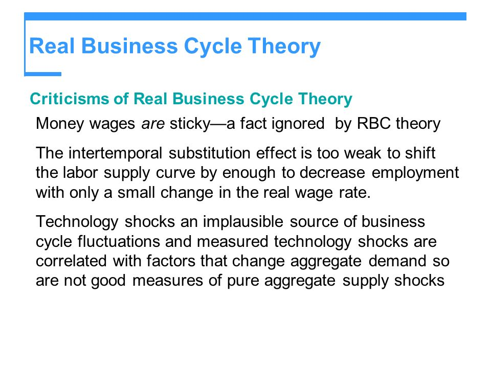 Real Business Cycle Theory Criticisms of Real Business Cycle Theory Money wages are stickya fact ignored by RBC theory The intertemporal substitution