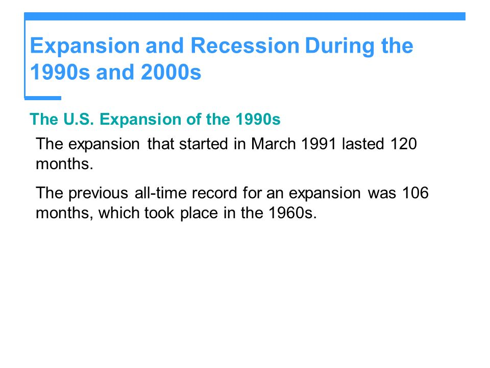 Expansion and Recession During the 1990s and 2000s The U.S. Expansion of the 1990s The expansion that started in March 1991 lasted 120 months. The pre