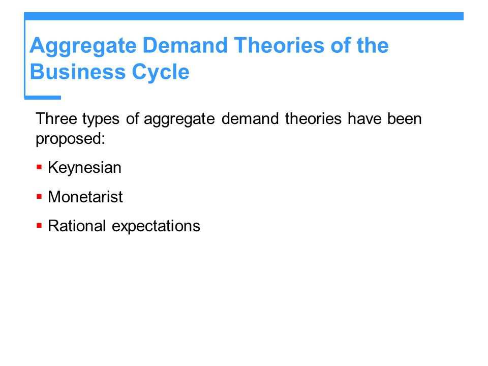 Aggregate Demand Theories of the Business Cycle Keynesian Theory The Keynesian theory of the business cycle regards volatile expectations as the main source of business cycle fluctuations.