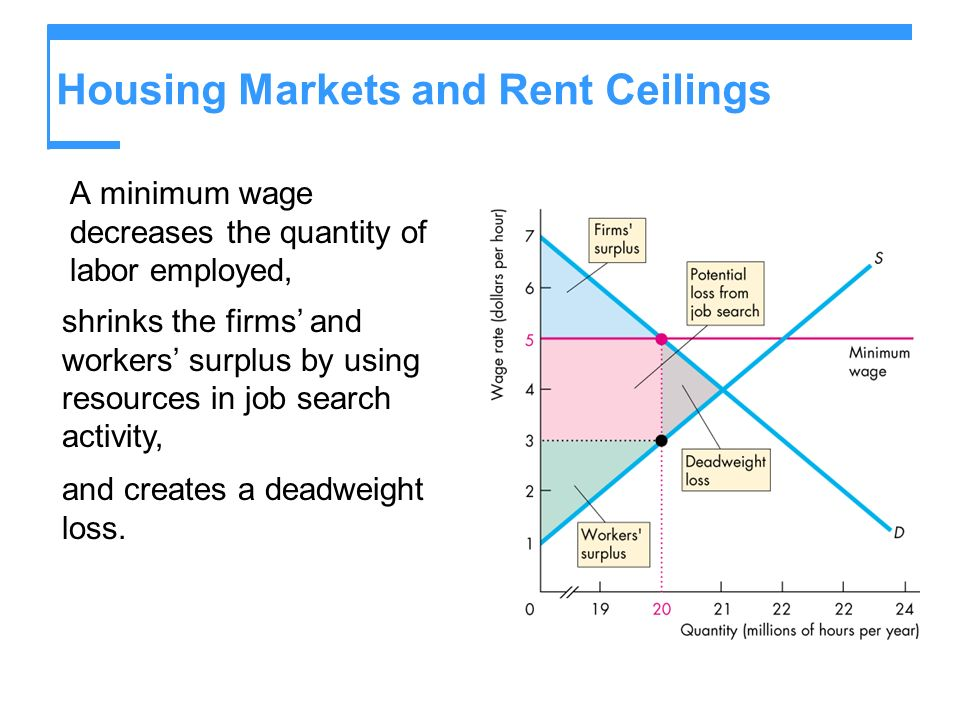 Housing Markets and Rent Ceilings A minimum wage decreases the quantity of labor employed, shrinks the firms and workers surplus by using resources in job search activity, and creates a deadweight loss.