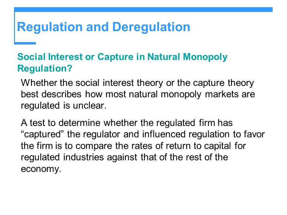 Regulation and Deregulation Social Interest or Capture in Natural Monopoly Regulation.