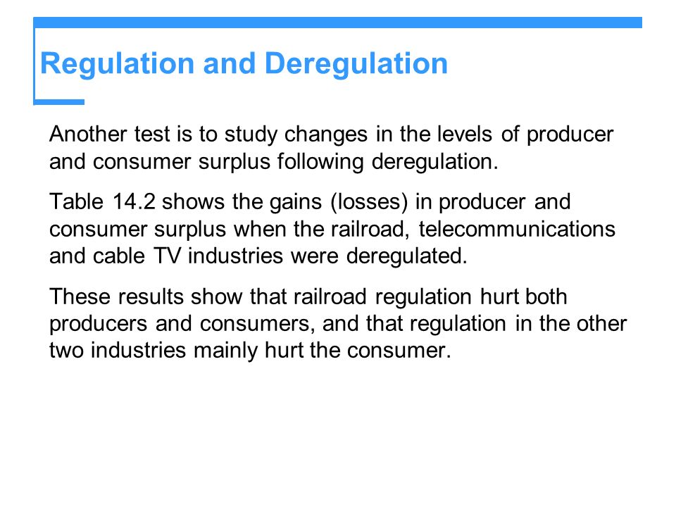 Regulation and Deregulation Another test is to study changes in the levels of producer and consumer surplus following deregulation.
