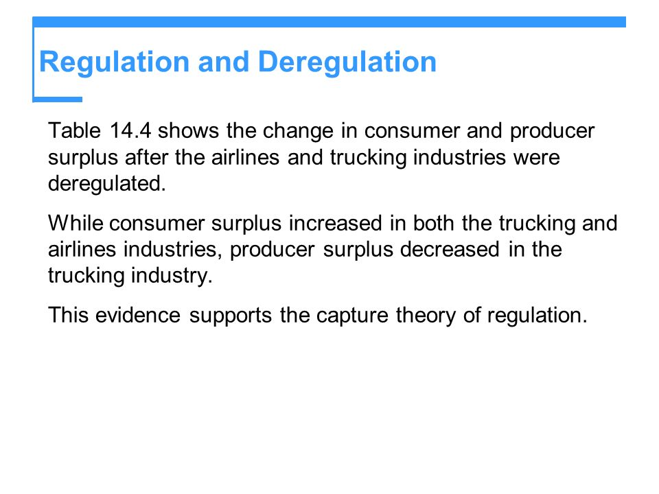 Regulation and Deregulation Table 14.4 shows the change in consumer and producer surplus after the airlines and trucking industries were deregulated.