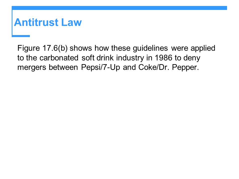 Antitrust Law Figure 17.6(b) shows how these guidelines were applied to the carbonated soft drink industry in 1986 to deny mergers between Pepsi/7-Up