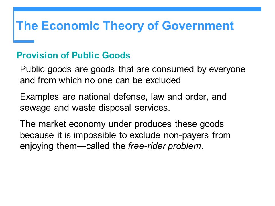 The Economic Theory of Government Provision of Public Goods Public goods are goods that are consumed by everyone and from which no one can be excluded Examples are national defense, law and order, and sewage and waste disposal services.