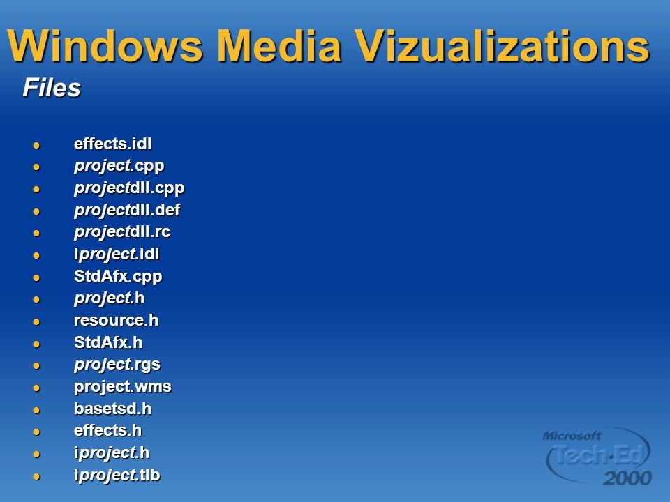 Windows Media Vizualizations effects.idl effects.idl project.cpp project.cpp projectdll.cpp projectdll.cpp projectdll.def projectdll.def projectdll.rc projectdll.rc iproject.idl iproject.idl StdAfx.cpp StdAfx.cpp project.h project.h resource.h resource.h StdAfx.h StdAfx.h project.rgs project.rgs project.wms project.wms basetsd.h basetsd.h effects.h effects.h iproject.h iproject.h iproject.tlb iproject.tlb Files