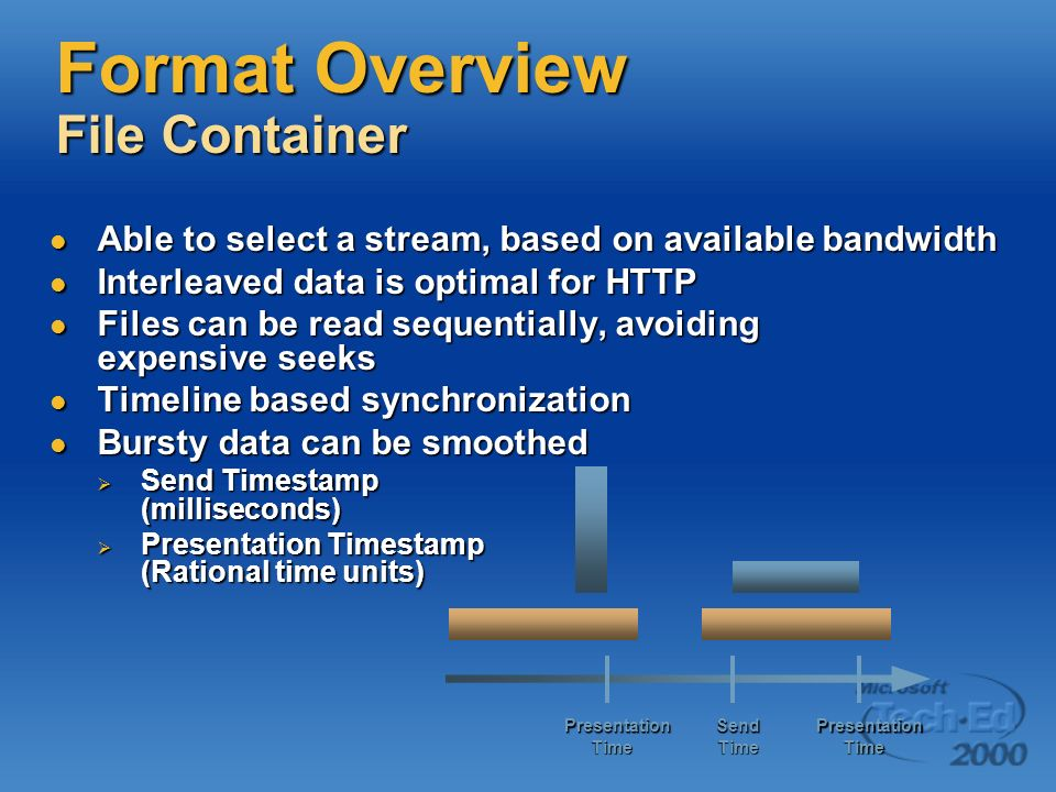 Format Overview File Container Able to select a stream, based on available bandwidth Able to select a stream, based on available bandwidth Interleaved