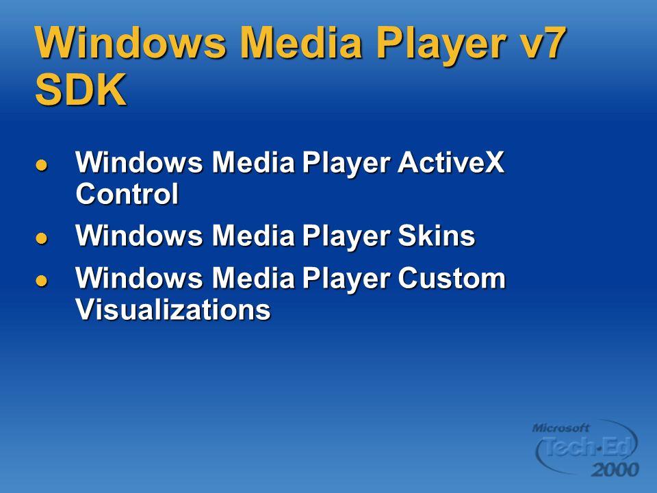 Windows Media Player v7 SDK Windows Media Player ActiveX Control Windows Media Player ActiveX Control Windows Media Player Skins Windows Media Player Skins Windows Media Player Custom Visualizations Windows Media Player Custom Visualizations