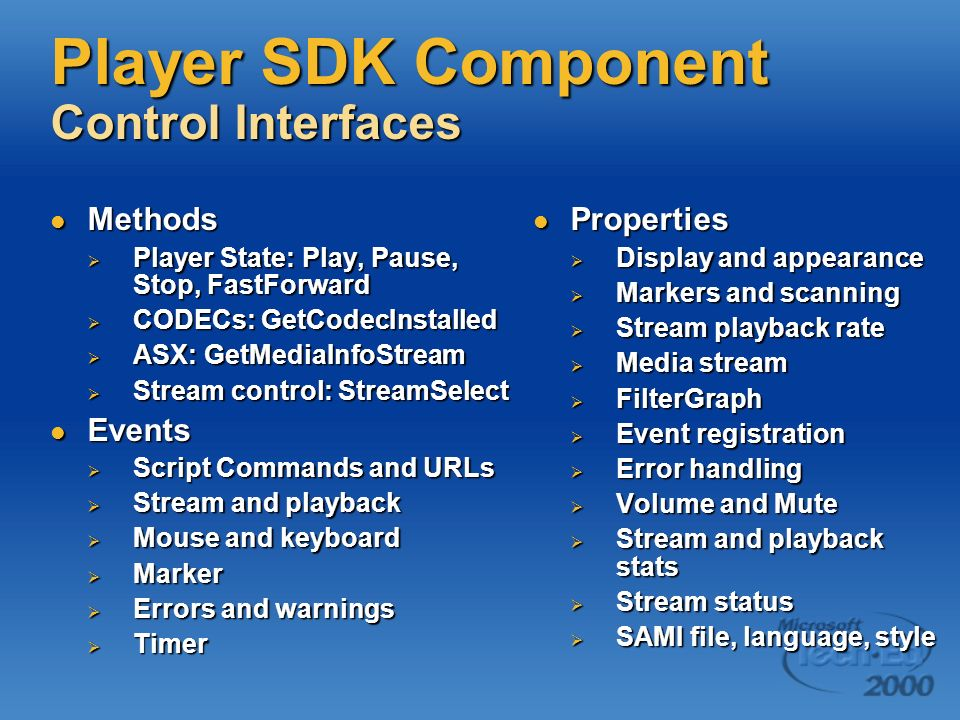 Player SDK Component Control Interfaces Methods Methods Player State: Play, Pause, Stop, FastForward Player State: Play, Pause, Stop, FastForward CODE
