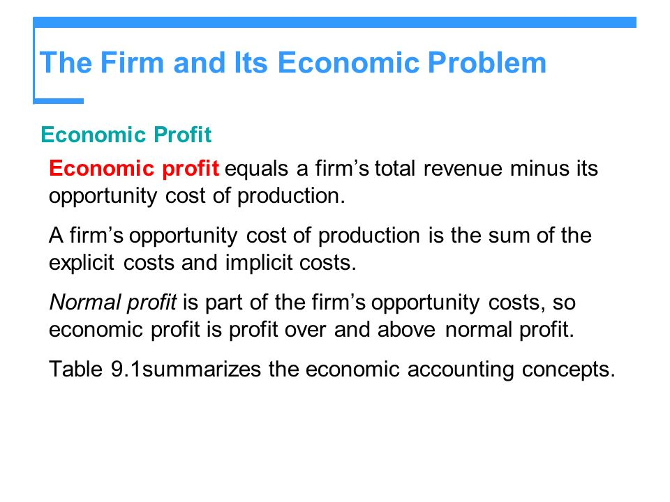 The Firm and Its Economic Problem Economic Profit Economic profit equals a firms total revenue minus its opportunity cost of production. A firms oppor