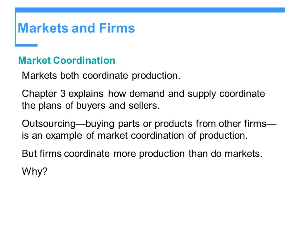 Markets and Firms Market Coordination Markets both coordinate production. Chapter 3 explains how demand and supply coordinate the plans of buyers and