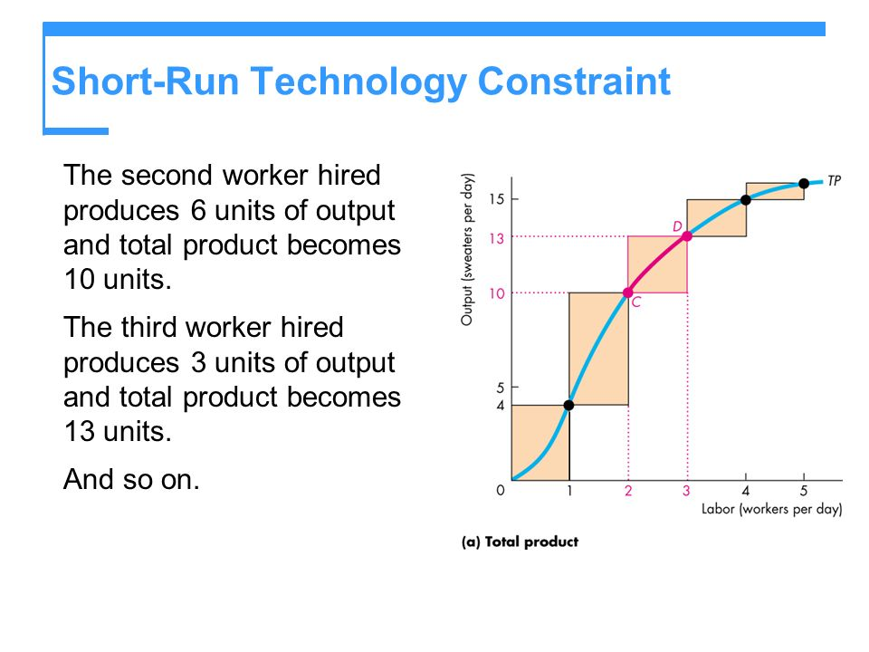 Short-Run Technology Constraint The second worker hired produces 6 units of output and total product becomes 10 units. The third worker hired produces