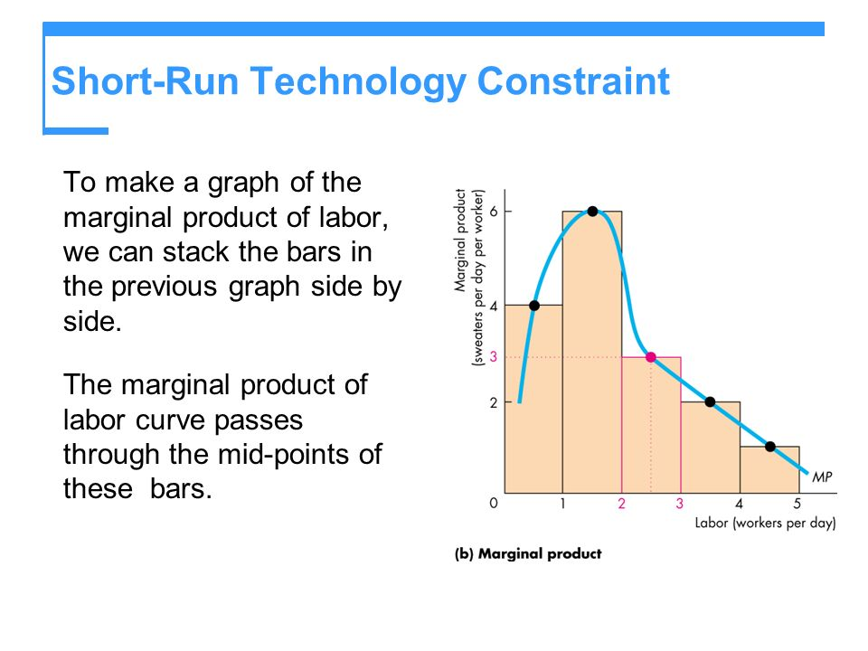 Short-Run Technology Constraint To make a graph of the marginal product of labor, we can stack the bars in the previous graph side by side. The margin