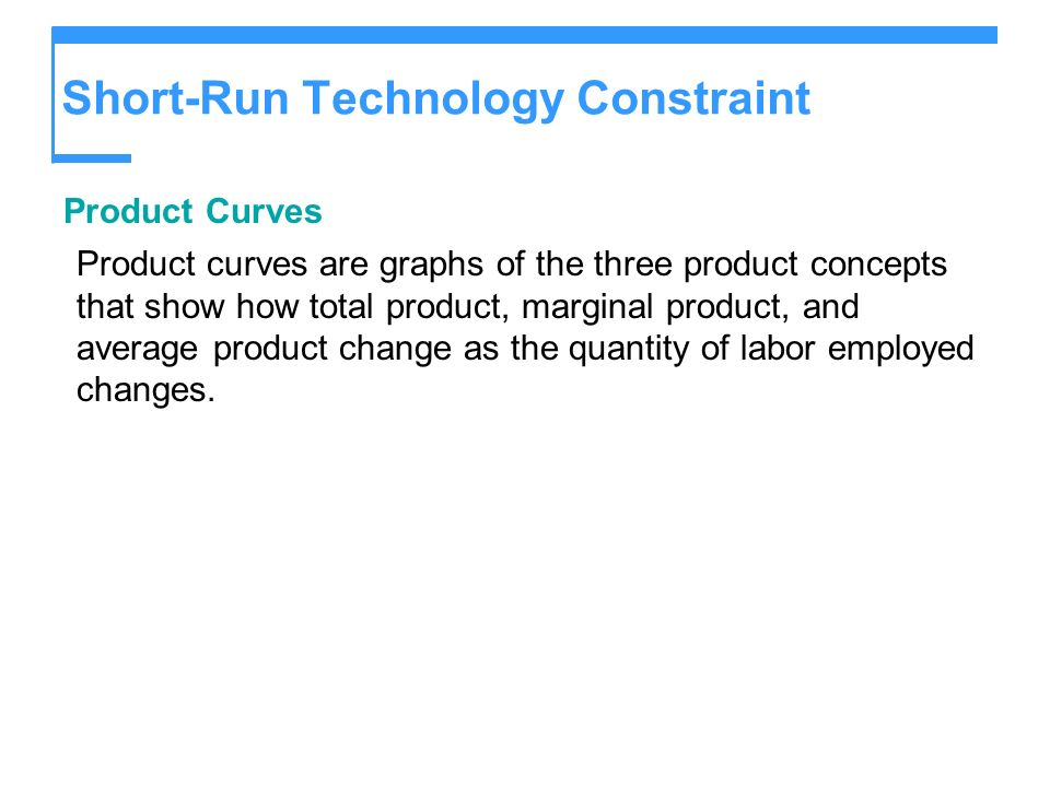 Short-Run Technology Constraint Product Curves Product curves are graphs of the three product concepts that show how total product, marginal product,