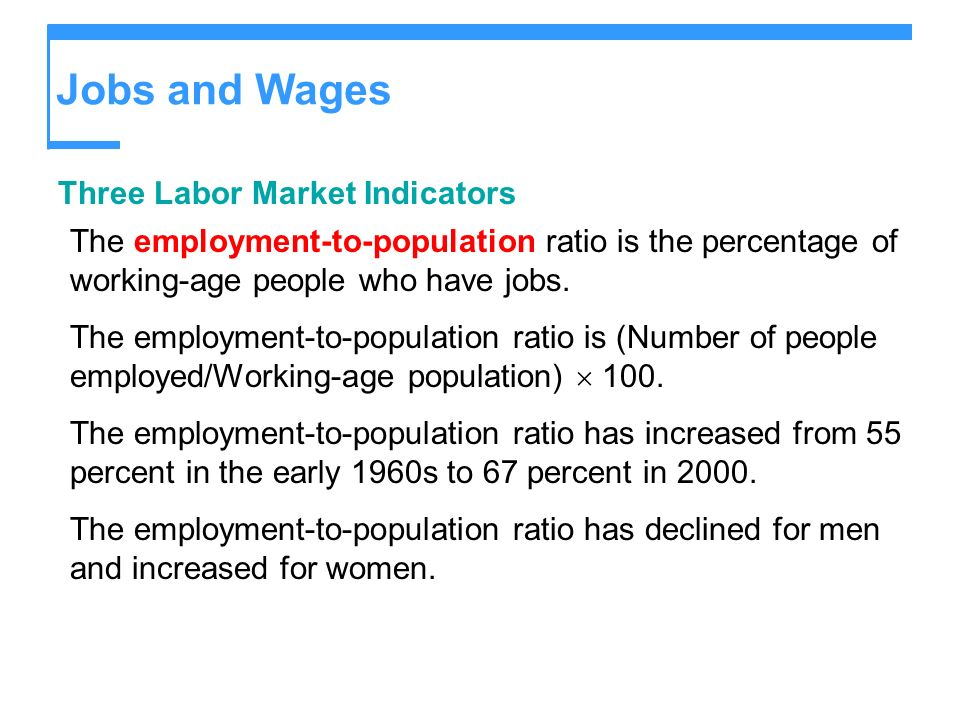 Jobs and Wages Three Labor Market Indicators The employment-to-population ratio is the percentage of working-age people who have jobs. The employment-