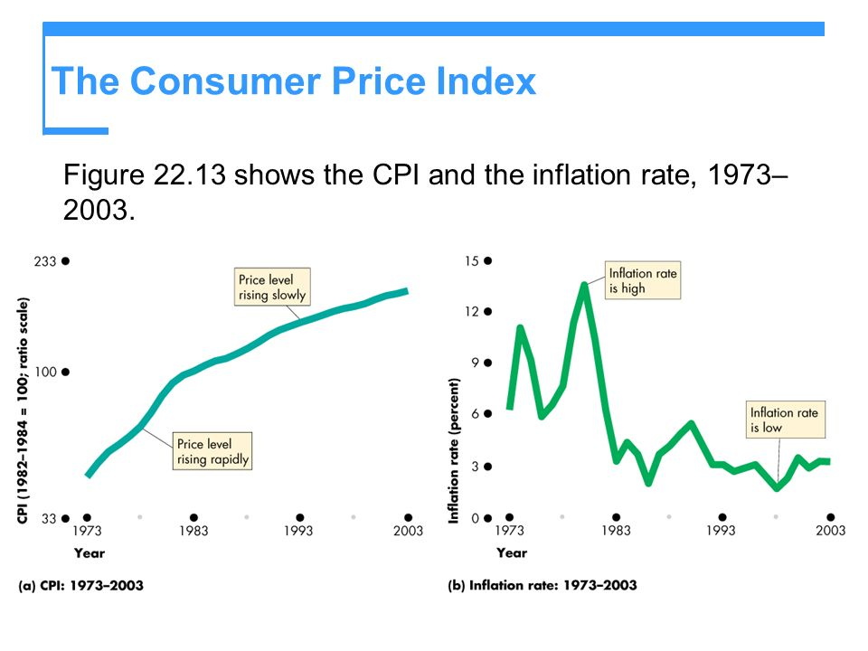 The Consumer Price Index Figure 22.13 shows the CPI and the inflation rate, 1973– 2003.