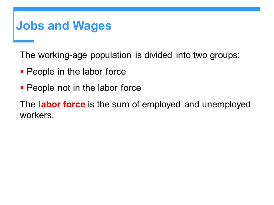 Jobs and Wages The working-age population is divided into two groups: People in the labor force People not in the labor force The labor force is the s