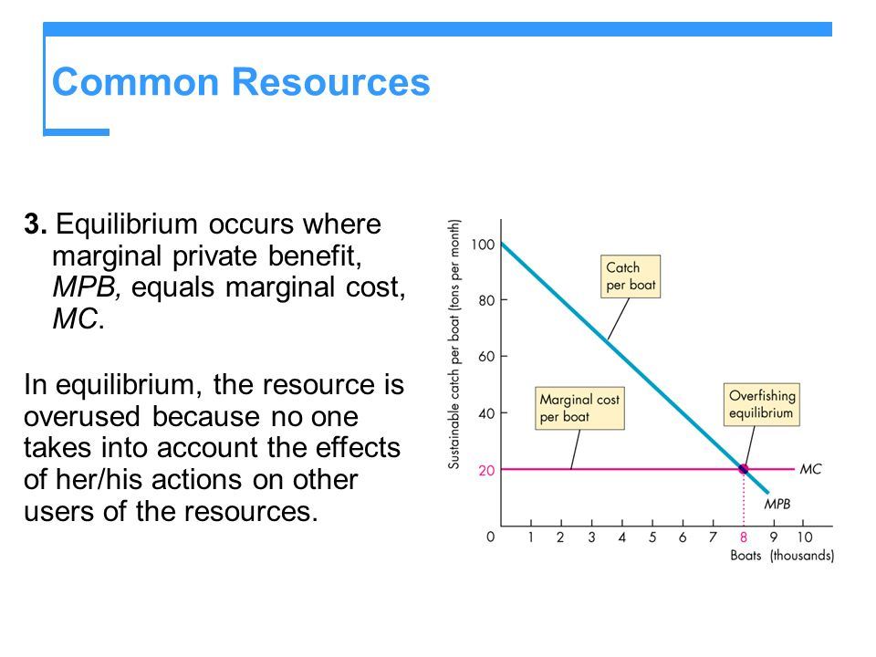 Common Resources 3. Equilibrium occurs where marginal private benefit, MPB, equals marginal cost, MC. In equilibrium, the resource is overused because